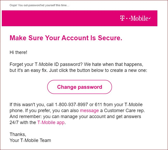 T-Mobile Change Password Email